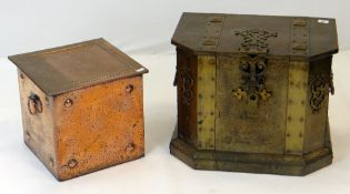 TWO ARTS & CRAFTS METAL PURDONIUMS, one of chest form with brass clasps, the other planished
