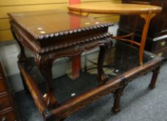 OCCASIONAL FURNITURE including a hardwood and glass topped coffee table, an Edwardian oval satinwood