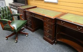 REPRODUCTION MAHOGANY DESK WITH ASSOCIATED OFFICE FURNITURE SIMILAR and a green button upholstered