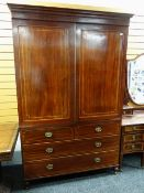LATE 19TH CENTURY MAHOGANY & SATINWOOD STRUNG LINEN PRESS fielded doors enclosing five sliding