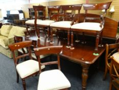 MODERN REPRODUCTION VICTORIAN-STYLE MAHOGANY DINING ROOM SUITE, comprising 8ft extending dining
