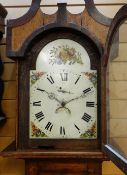 EARLY 19TH CENTURY PROVINCIAL OAK 30-HOUR LONGCASE CLOCK, painted dial, calendar aperture,