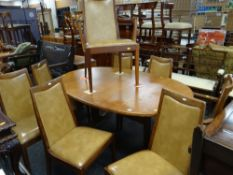 G-PLAN TEAK OVAL EXTENDING DINING TABLE & SET OF EIGHT 'FRESCO' DINING CHAIRS all with red G-Plan