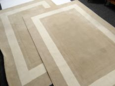PAIR OF LAURA ASHLEY WOOL RUGS, caramel with cream borders, 261 x 180cms (2) Condition Report: