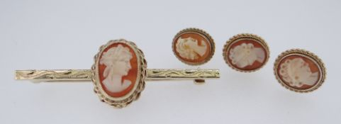9CT GOLD CAMEO BROOCH TOGETHER WITH THREE matching yellow metal cameo earrings, 8gms overall (4)