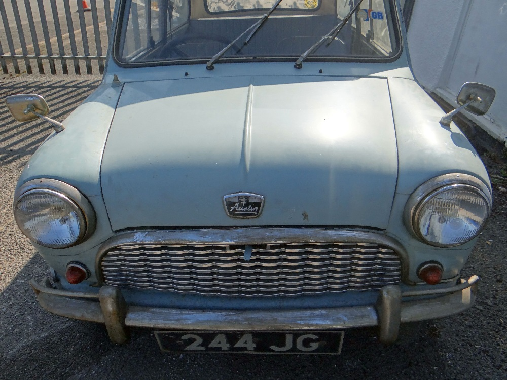 1963 AUSTIN MARK 1 MINI PETROL 848CC HAVING DATELESS/CHERISHED NUMBER PLATE '244 JG', in grey with - Image 3 of 79