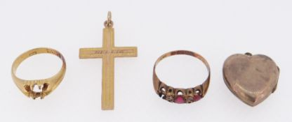 9CT GOLD DRESS RING (stone missing) & 18CT GOLD RING (stone missing) together with 9ct crucifix