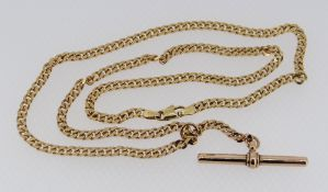 9CT GOLD FLAT LINK NECKLACE WITH T-BAR DROP, 16.4gms
