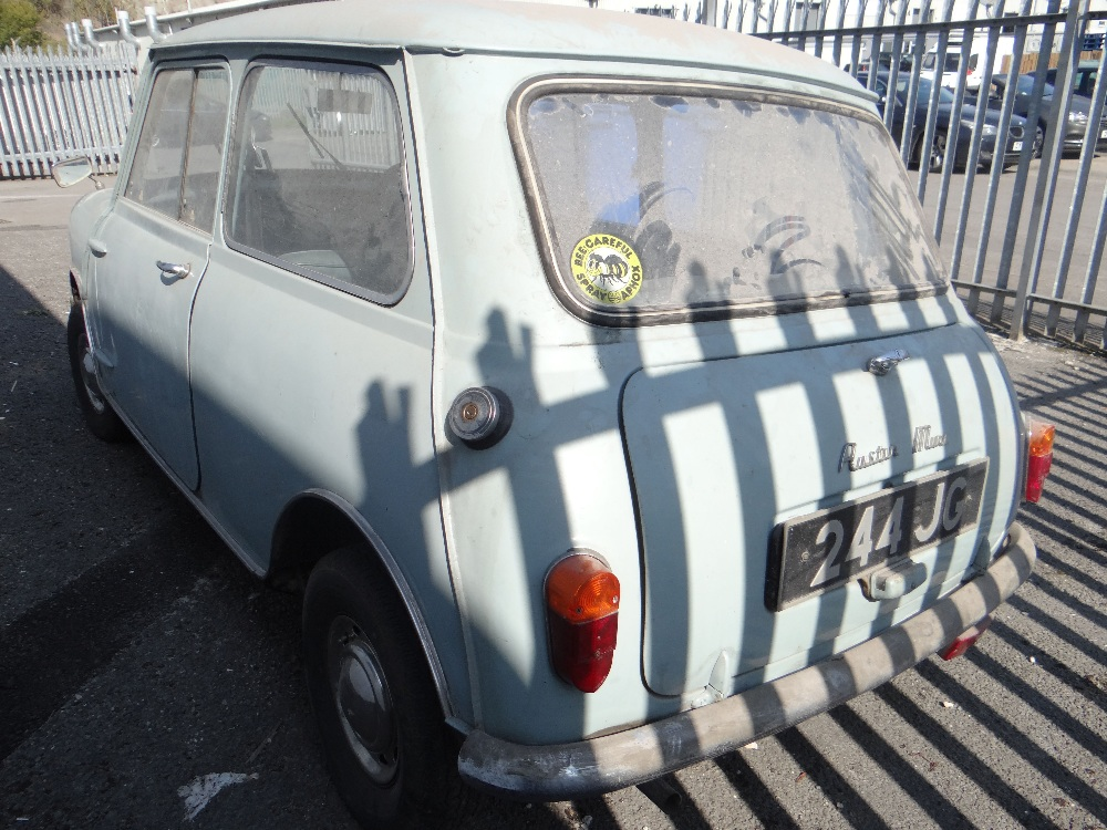 1963 AUSTIN MARK 1 MINI PETROL 848CC HAVING DATELESS/CHERISHED NUMBER PLATE '244 JG', in grey with - Image 7 of 79