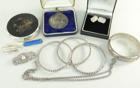 ASSORTED SILVER & PLATE to include silver bangle, cufflinks, silver Shire Horse Society medal,