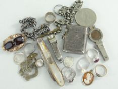 ASSORTED SILVER TO INCLUDE CHARM BRACELET, CIGAR CUTTER, silver and mother of pearl fruit knife,