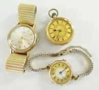 18CT YELLOW GOLD FLORALLY ENGRAVED FOB WATCH, 9ct gold ladies wristwatch and 9ct gold gents Rotary