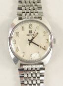 ZENITH SURF STAINLESS STEEL WRISTWATCH, cal 2572 manual wind signed movement, brushed tonneau case