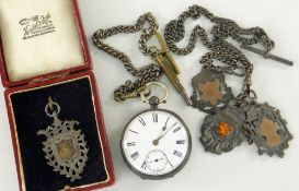 SILVER POCKET WATCH TOGETHER WITH THREE SILVER PENDANTS ON 'T' BAR CHAIN AND BOXED SINGLE SILVER