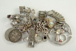 ASSORTED JEWELLERY AND COINS TO INCLUDE, 1889 crown, dress rings, chains, ingot, charm bracelet,