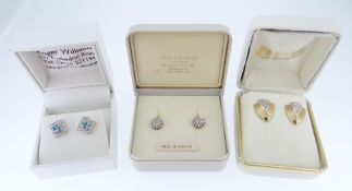 THREE PAIRS OF DIAMOND SET EARRINGS IN BOXES