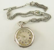 VICTORIAN SILVER LADIES FOB WATCH with gold oak leaf bezel and multi-strand silver Albert with