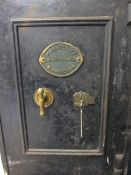 VINTAGE CAST IRON SAFE, locking with keys, 66cms H, 46cms W, 43cms D