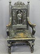 VICTORIAN JACOBEAN STYLE CARVED OAK ARMCHAIR with Lion mask crest rail above a man in armour central