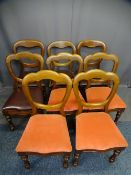 HARLEQUIN SET OF EIGHT VICTORIAN MAHOGANY BALLOON BACK DINING CHAIRS, five having more shaped detail