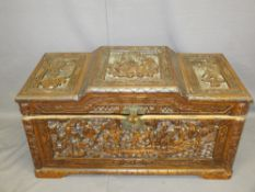 CARVED ORIENTAL CAMPHORWOOD CHEST with stepped top, 47.5cms H, 94.5cms W, 46cms D