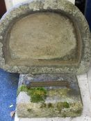 RECONSTITUTED STONE TROUGH & BLOCK with cast iron boot scrape, 77 x 60cms, 45 x 31cms respectively