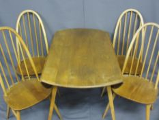 ERCOL LIGHT ELM DROP-LEAF DINING TABLE & FOUR CHAIRS, Windsor style