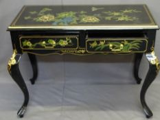 20TH CENTURY JAPANESE TWO DRAWER SIDE TABLE, black lacquer with gilt highlighting and painted floral