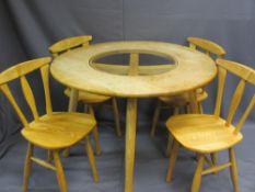 MODERN SWEDISH STYLE CIRCULAR TOP TABLE & FOUR CHAIRS, the table with central glass insert