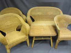 WICKER FIVE PIECE CONSERVATORY SUITE of two seater couch, three armchairs and coffee table