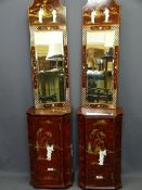 JAPANESE RED SIMULATED LACQUER WORK, single door cabinet and mirror ensembles, a pair, the cabinet