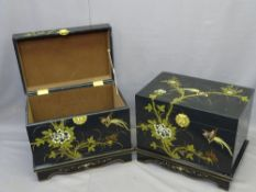 TWO JAPANESE LACQUERWORK LIDDED CHESTS with painted decorations of birds among foliage, brass