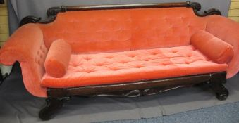 LATE REGENCY MAHOGANY SCROLL ENDED COUCH with carved leaf detail to the back rail, pink velour
