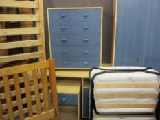 MODERN BEDROOM FURNITURE a quantity including a blue and lightwood effect suite of two door wardrobe