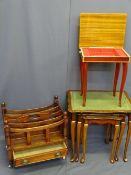 FOUR SMALL OCCASIONAL FURNITURE ITEMS to include an Italian inlaid lidded music table, set of