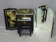 PAINTED LACQUER WORK OCCASIONAL FURNITURE and a three-fold Italian style mirror, the lacquer work
