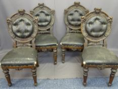 OAK SALON CHAIRS, SET OF FOUR, high Victorian in style with carved circular cameo backs and buttoned