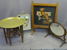 FOUR VINTAGE FURNITURE ITEMS to include an Eastern folding table with brass top, an oval swing