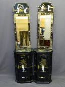 JAPANESE LACQUER WORK SINGLE DOOR CABINET & MIRROR ENSEMBLE, a pair, the cabinets with inverted