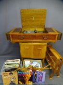 DYNATRON RADIOGRAM with Garrard record deck in a burr walnut cabinet along with a teak Remploy
