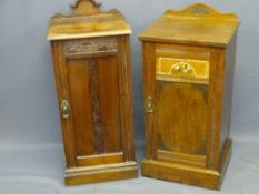 TWO CIRCA 1900 BEDSIDE POT CUPBOARDS in mahogany with carved detail and shaped back rail, 85cms H,