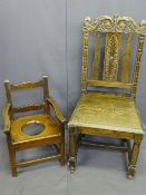 CIRCA 1860 CHILD'S PINE ARMCHAIR and a carved oak hall chair, the armchair peg joined construction