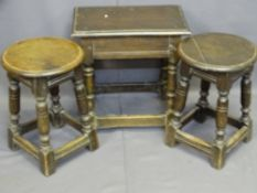 THREE VINTAGE JOINED OAK TYPE STOOLS including a rectangular example, 46.5cms H, 46cms L, 28.5cms