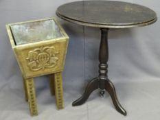 CARVED OAK PLANTER & AN EBONIZED PINE TRIPOD TABLE, 61cms H, 35cms W, 34cms D and 72cms H, 66cms