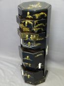 JAPANESE OCTAGONAL CHEST of eight drawers in black lacquer with gilt painted decorated and shibayama