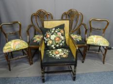 FIVE MIXED SALON ARM & SIDE CHAIRS and three antique oak farmhouse chairs to include two Hepplewhite