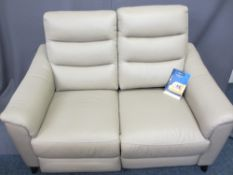 HARVEY GENEVA S662 TWO SEATER ELECTRIC RECLINING SOFA in mushroom leather effect with a USB port