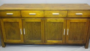 ULTRA MODERN OAK LONG SIDEBOARD with parquet type top over a four drawer and four door cupboard base