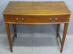 SIDE TABLE, single drawer on tapered supports with bow front, 72 x 87 x 48cms