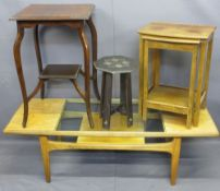 OCCASIONAL TABLES, VARIOUS to include a mid-century G-Plan teak Long-John coffee table with glass